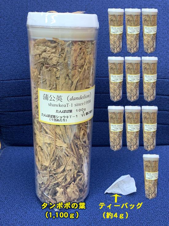 タンポポの葉とティーバッグタイプ